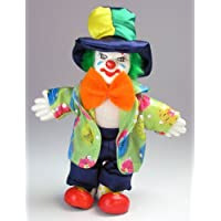 Clown Figurine - Red bow/Green Hair, Hand-Painted, Posable, Porcelain, 7