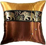 Artiwa Large Thai Elephants Throw Decorative Accent Silk Pillow Case 20x20 inch Brown & Gold