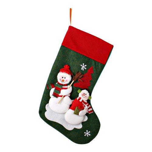 [mia.home®]Nikolaus Strümpfe Weihnachten Santa Nikolausstiefel ZUM FÜLLEN 12 Motiv 44cm/42cm/40cm/32cm/20cm (44cm großer und kleiner Schneemann in grün)