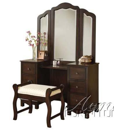 3pc Vanity Table, Mirror & Stool Set in Walnut Finish