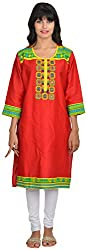 Goodyygoods Women's Cotton Regular Fit Kurti (GG 39, Red, X-Large)