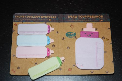 Pack of 5 Baby Bottle Sticky Notepads