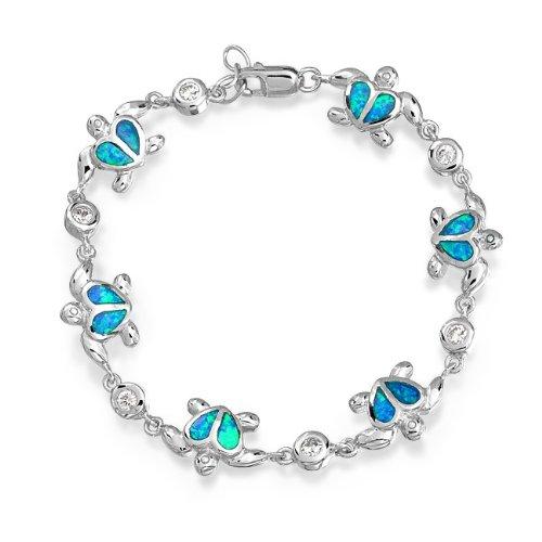 Bling Jewelry Kids Blue Opal Heart Hawaiian Nautical Sea Turtle Bracelet CZ Silver