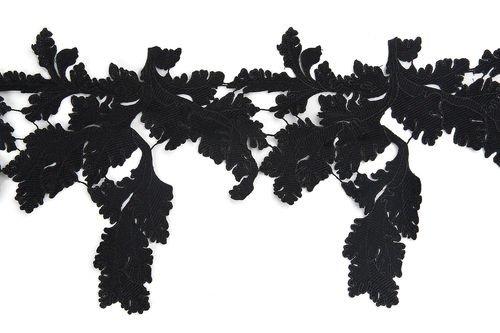 1 Yard Black Venice Floral Gorgeous Appliques I0165
