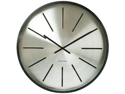 Present Time Karlsson Maxiemus Station Wall Clock, Matte Black Case