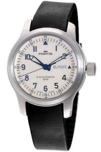 Fortis Men's 645.10.12 K B-42 Pilot Professional Beige Dial Automatic Date Rubber Watch