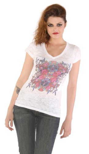 Wild Rose Sugar Skull Tattoo Art White Burnout Short Sleeve Shirt