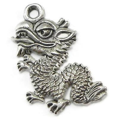 20 Dragon Charms silver tone