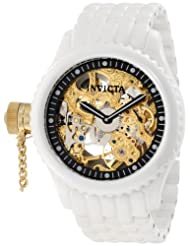 Invicta Men's 1923 Russian Diver Mechanical Gold Tone Skeleton Dial White Ceramic Watch
