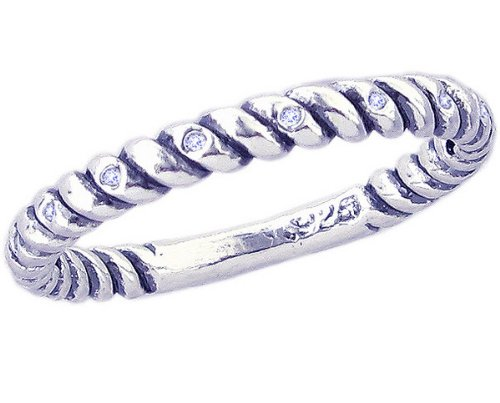 Twisted Stackable Diamond Band Ring Spacer in Sterling Silver-Diamond-in full,half,quarter sizes from 3.5 to 12_10