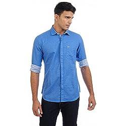 Sting Blue Solid Slim Fit Premium Linen Casual Shirt