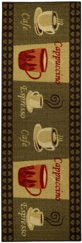 Anti-Bacterial Rubber Back Home and KITCHEN RUGS Non-Skid/Slip 2x5 | Coffee Themed | Decorative Kitchen Rug Runner Door Mats Low Profile Modern Thin Indoor Floor Area Rugs for Kitchen