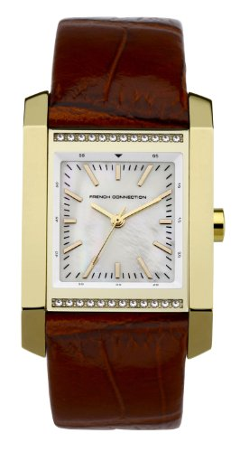 French Connection Ladies Brown Strap Watch With Square Stone Set Gold Case CD92.14FCX