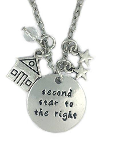 """'cadoline-Seconda Stella A destra collana pendente rotondo con incisione """"Peter Pan 2nd regalo gioielli"""