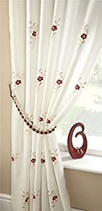 """Red Cream Pearls 57x72"""" Fully Lined Pencil Pleat Thick Voile Curtain Drapes by Curtains"""