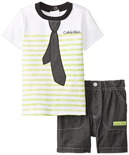 Calvin Klein Baby-Boys Infant White with Lime Stripes Tee and Shorts -Tie