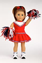 Go Team! - 6 piece cheerleader outfit includes blouse, skirt, headband, pompons, socks and shoes - 18 Inch Doll Clothes