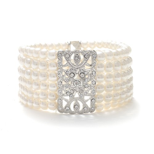 Mariell-Ivory-Pearl-and-Crystal-Vintage-Stretch-Bracelet-Glamorous-Art-Deco-Bracelet-Fits-All-Sizes