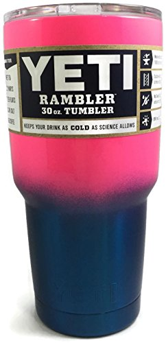 YETI Coolers Rambler Tumbler, Stainless Steel, 30oz, One Size (Pink) (NEON PINK BLUE FADE)