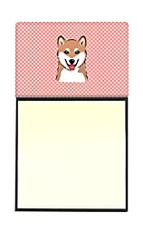 Caroline\'s Treasures Checkerboard Pink Shiba Inu Refillable Sticky Note Holder or Postit Note Dispenser, 3.25 by 5.5\