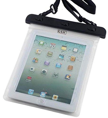 水場でタブレット 7-10 インチ タブレット用防水ケース 首掛けストラップ付き ipad 2/3/4 Air1/2/ipad mini/ ARROWS Tab/dtab/ASUS/Xperia tablet/Galaxy note10.1 ホワイト