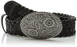 Betsey Johnson Women's Braided Plaque Pant Belt, Black/ANR, Small
