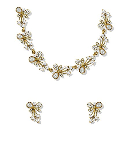 Zaveri Pearlsaustrian Diamond & Pearls Gold Tone Necklace Set For Women & Girls - Zpfk5216