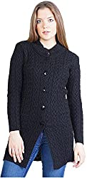 Montrex Women's Plain Coats (Montrex-6409Black, Black, XL)