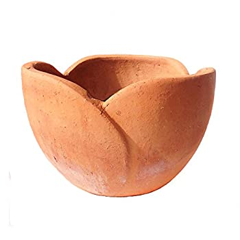 Newly Designed Hand Pressed Ancient Stressed Terra Cotta Petal Shaped Flower Pot or Planter Available in Three Sizes.