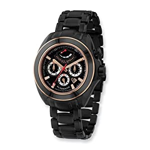 Blk/rose Ip-pltd 2-tone Stainless Steel Automatic Watch by Charles Hubert Paris Watches, Best Quality Free Gift Box Satisfaction Guaranteed