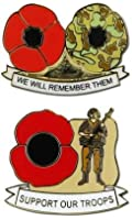 Support Our Troops Poppy Pin Badge Set