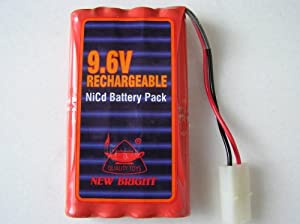 New Bright 9.6V Rechargeable 600 MAh NiCd Toy Battery Pack. Use with New Bright 9.6 volt Powered Vehicles. Battery packs may have shelfwear from bulk storage.