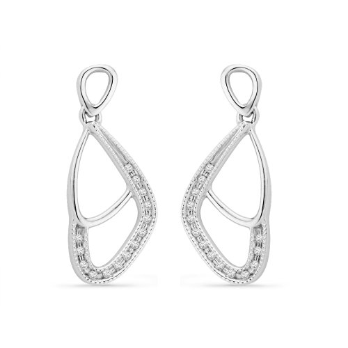 Platinum Plated Sterling Silver Round Diamond Fashion Earring (1/10 CTTW)