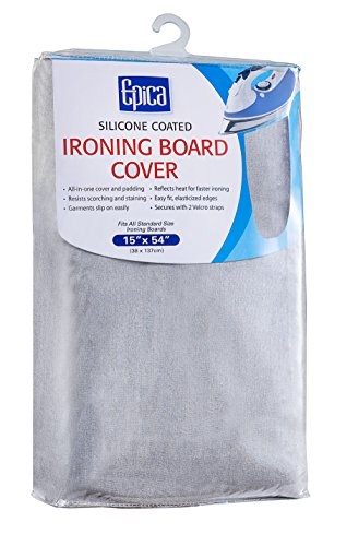 Epica Silicone Coated Ironing Board Cover Resists Scorching and Staining – 15″x54″