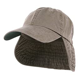 Washed Cotton Flap Hats-Khaki