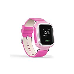 Wayona Kids Tracker Smart Wrist Watch with GPS & GSM System with functions ( Children Safe Security/ SOS Surveillance/Pedometer / Remote Power Off/Alarms Anti-lost for Children) - Pink