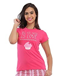 Clovia Cotton Graphic T-Shirt - Pink
