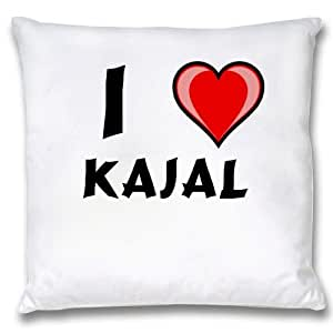 Amazon.com - White Cushion Cover with I Love Kajal (first name/surname