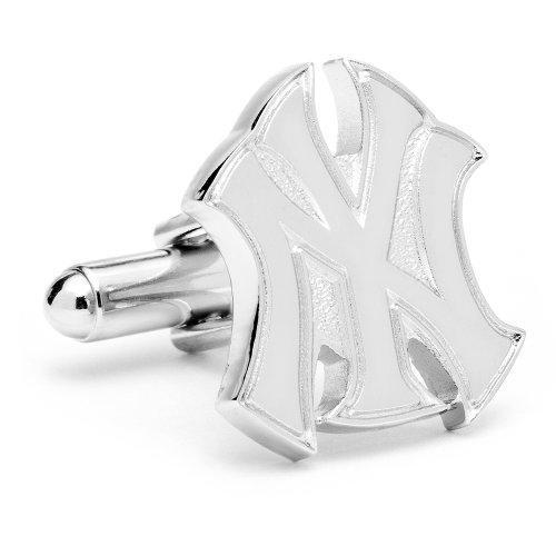 Silver New York Yankees Logo Cufflinks Novelty 1 x 1in