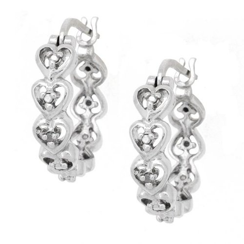 Sterling Silver Heart & Diamond Accent Hoop Earrings
