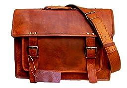 Handolederco 16 Inch Vintage Handmade Leather Messenger Bag for Laptop Briefcase Satchel Bag 16x12x5 Inches Brown ...