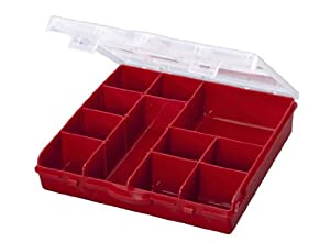 Stack-On SBR-13 13 Compartment Storage Organizer Box with Removable Dividers, Red