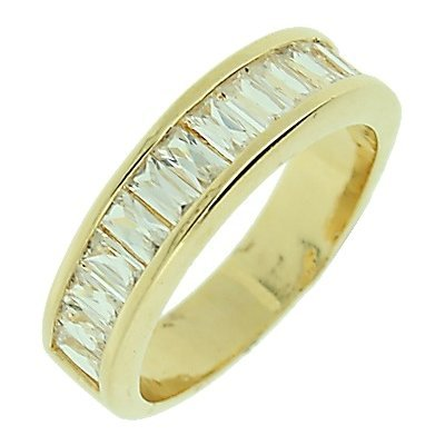 18K Gold Plated Clear Cubic Zirconia Half Eternity Wedding Band Ring - Size 5