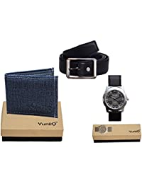 Combo Pack Of Blue Denim Shade Wallet With Black Belt With YuniiQ Wrist Watch.