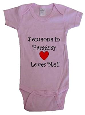 SOMEONE IN PARAGUAY LOVES ME - PARAGUAY BABY - Country Series - Pink Baby One Piece Bodysuit - size Newborn (0-6M)