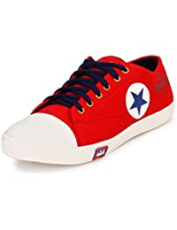 Knoos Men's Canvas Red Sneakers (CR-01-RD)