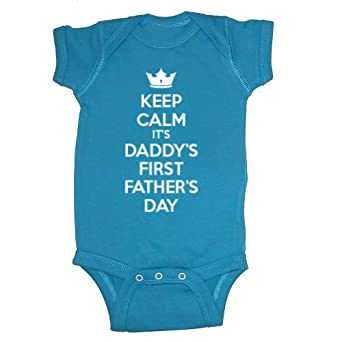 Festive Threads Keep Calm It's Daddy's First Father's Day Baby Bodysuit (Cobalt, 18 Months)