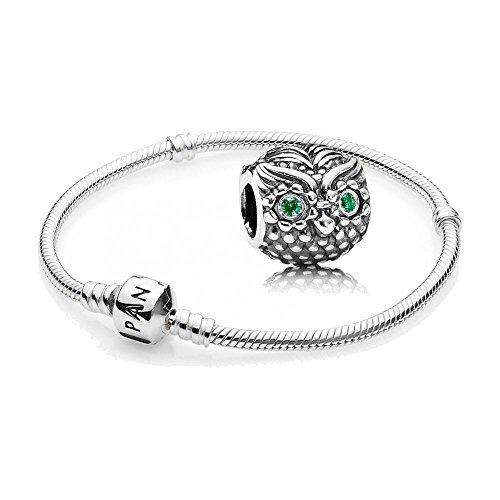 Original Pandora Geschenkset - 1 Silber Armband 590702HV und 1 Silber Element Weise Eule mit grünem Zirkonia 791211CZN