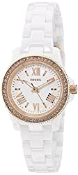 Fossil Women's CE1083 Cecile Crystal-Accented Rose Gold-Tone Watch with White Ceramic Bracelet