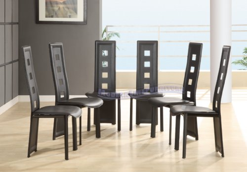 Leather Dining Room Sets Modern Furniture Black Leather Match Set Of Six Din